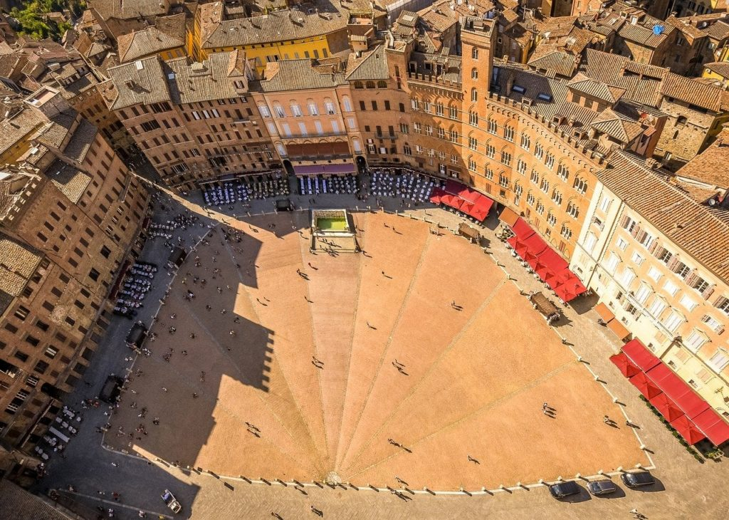 View of Piazza del Campo from Torre del Mangia, Siena