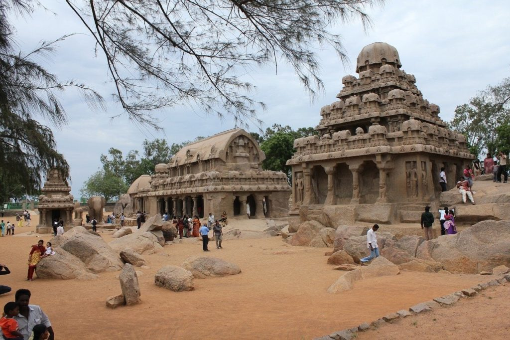 Chariot temples and the carvings, Mahabalipuram