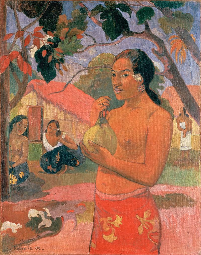 Gauguin_Woman_Holding_a_Fruit_(Eu_haere_ia_oe)