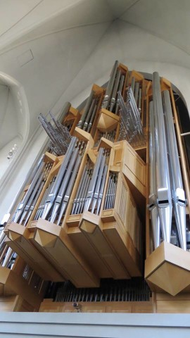 The organ at the church is massive. Time out your visit during services and you can hear it being played.