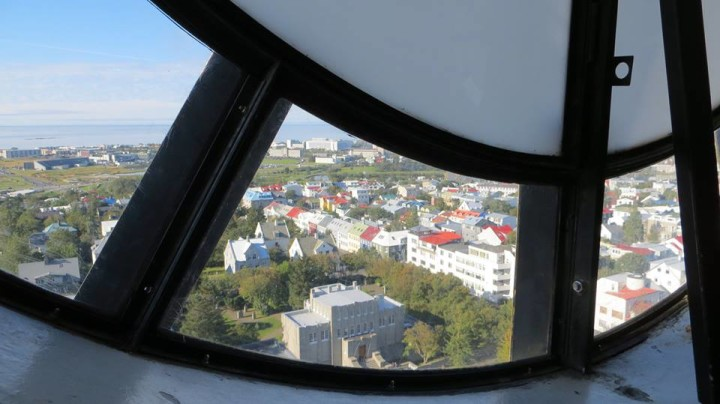 Here's a shot of the view through the clock face at the top of the tower. Another short flight of steps takes you to windows with a better view, but this is a unique perspective.