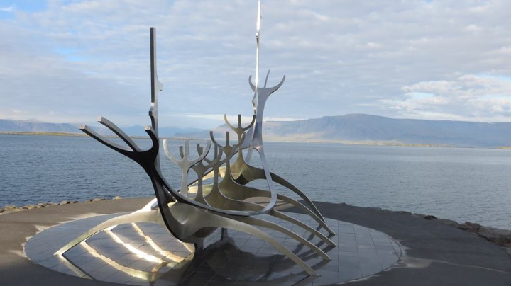 The sculpture is a short walk from the Harpa.