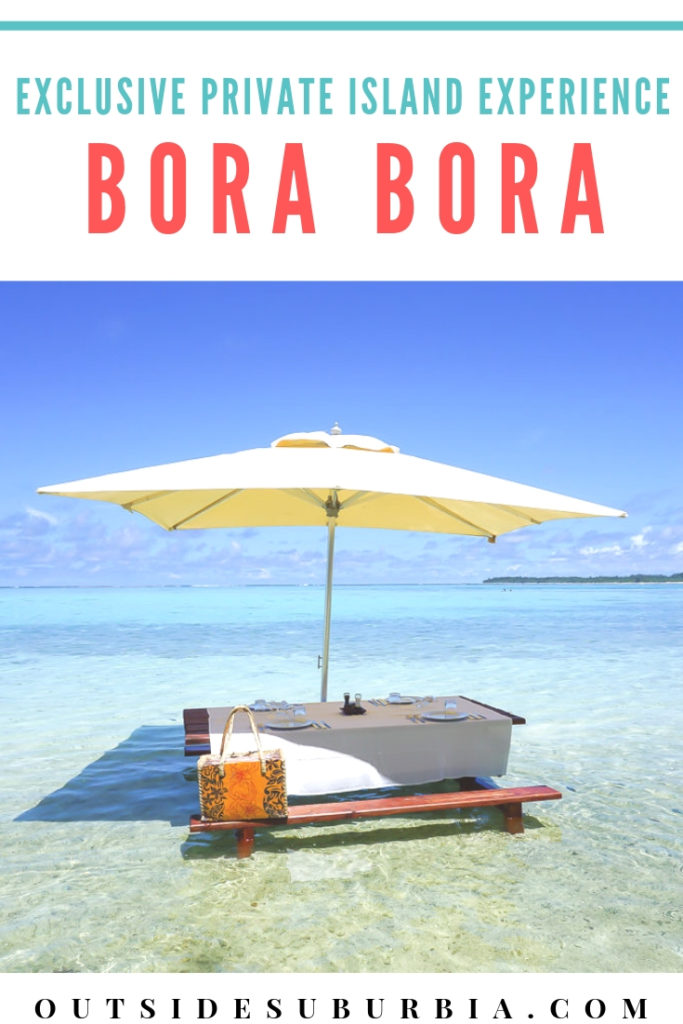 ep into your own screensaver at this exclusive private island in Bora Bora, French Polynesia - lunch with toes in the soft sand and clear turquoise waters #BoraBoraBucketlist #BucketlistExperiences #BoraBora #OutsideSuburbia #PicnicIntheBeach