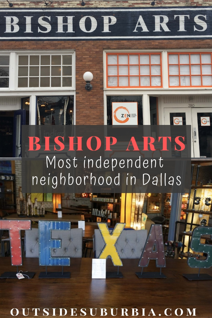Located in the heart of North Oak Cliff, don't miss a visit to Bishop Arts District in Dallas. Stop at the famous Emporium Pies, many cool art galleries and stores. #OutsideSuburbia #CoolThingsTodoDallas #BishopArtsDistrict #EmporiumPiesDallas