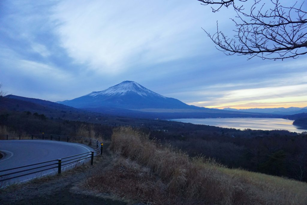 View of Mt Fuji from Lake Yamanakako in the Fuji Five Lakes area