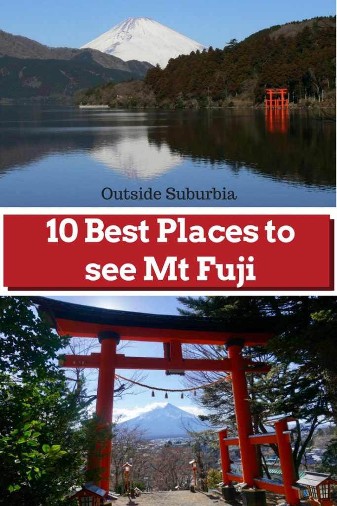 Best places to see Mt Fuji - Japan's tallest mountain and its most iconic landmark including an epic view of Mt Fuji with its snow cap from an airplane, a bullet train and from our hotel in Tokyo. #MtFujiViews #FujiSan #BestPlacestoSeeMtFuji #OutsideSuburbia #MtFuji