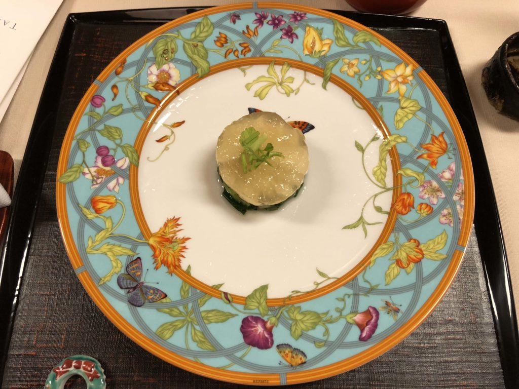 Kaiseki meal served on Hermès tableware - Kanamean Nishitomiya Review - Photo by Outside Suburbia