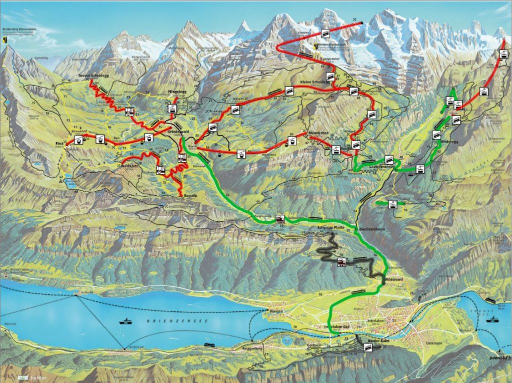Map of Jungfrau, Switzerland -Outside Suburbia