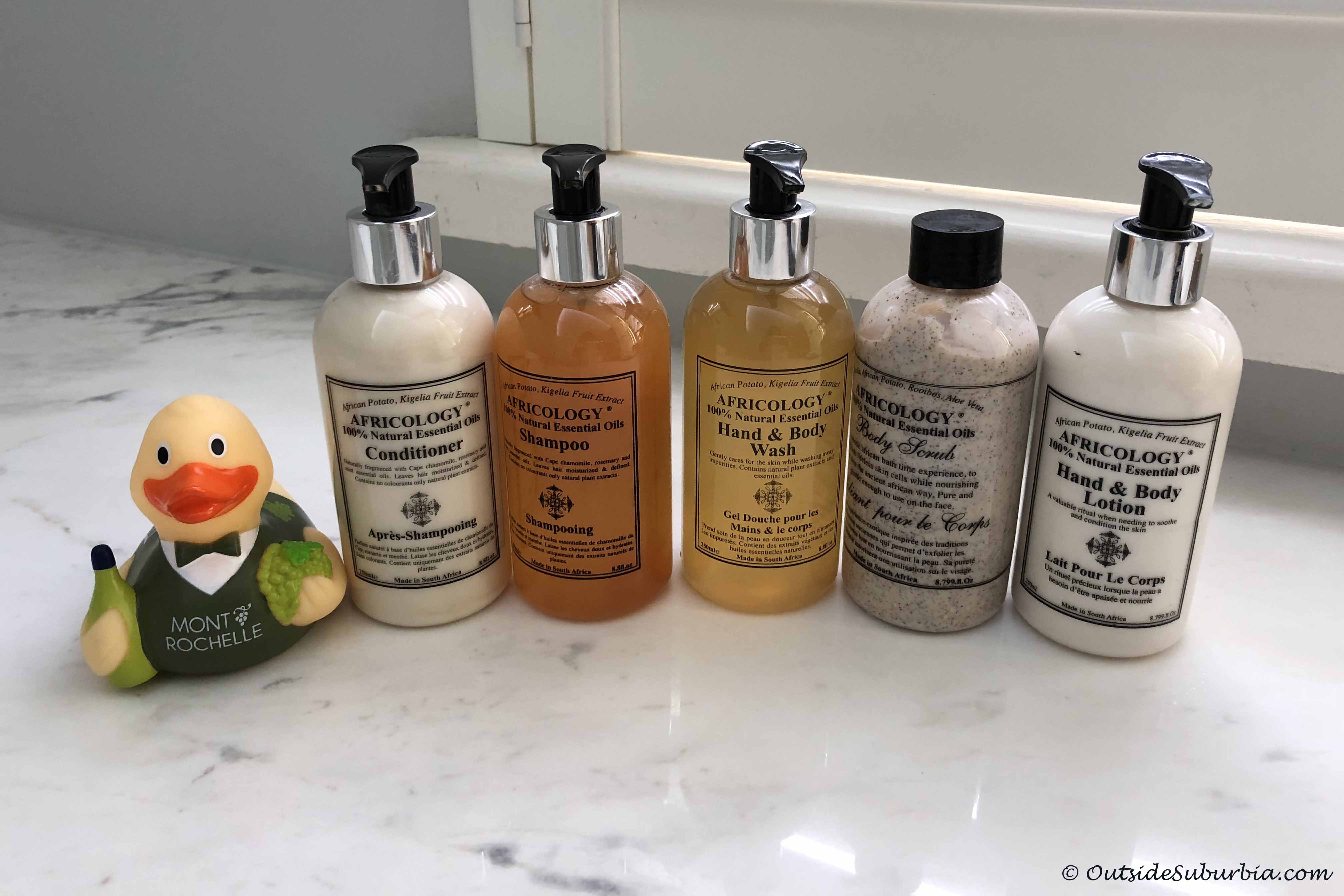 Africology bath products at Mont Rochelle Franschhoek
