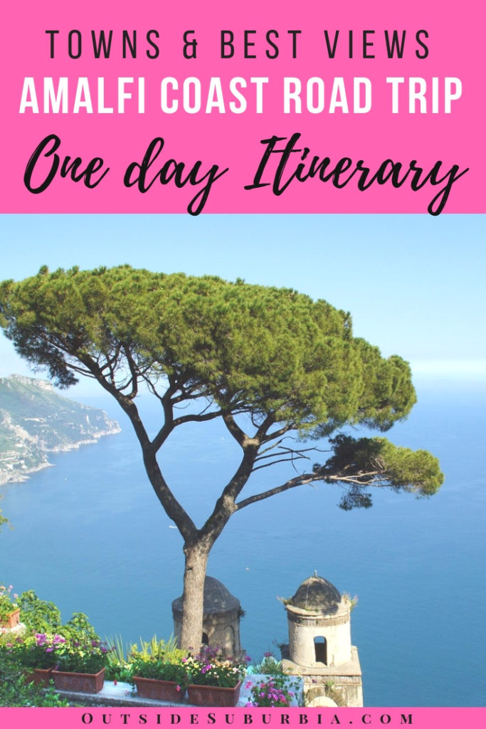 One day Itinerary for the Amalfi Coast drive. Amalfi coast road trip is one of Italy's greatest wonders, 30 miles of narrow road with cliffs and waves crashing below, green slopes all around, medieval pirate watchtowers and colorful villages brimming with bougainvillea tucked into the coves. #AmalfiCoast #AmalfiDrive #AmalfiRoadtrip #AmalfiCoastRoadtrip #OutsideSuburbia #EpicDrives