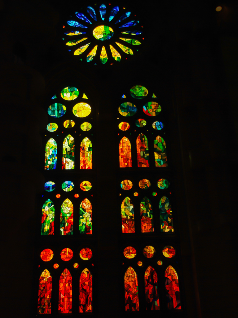 Stained glass window at Sagrada Familia.Things to do in Barcelona with Kids Photo by Outside Suburbia