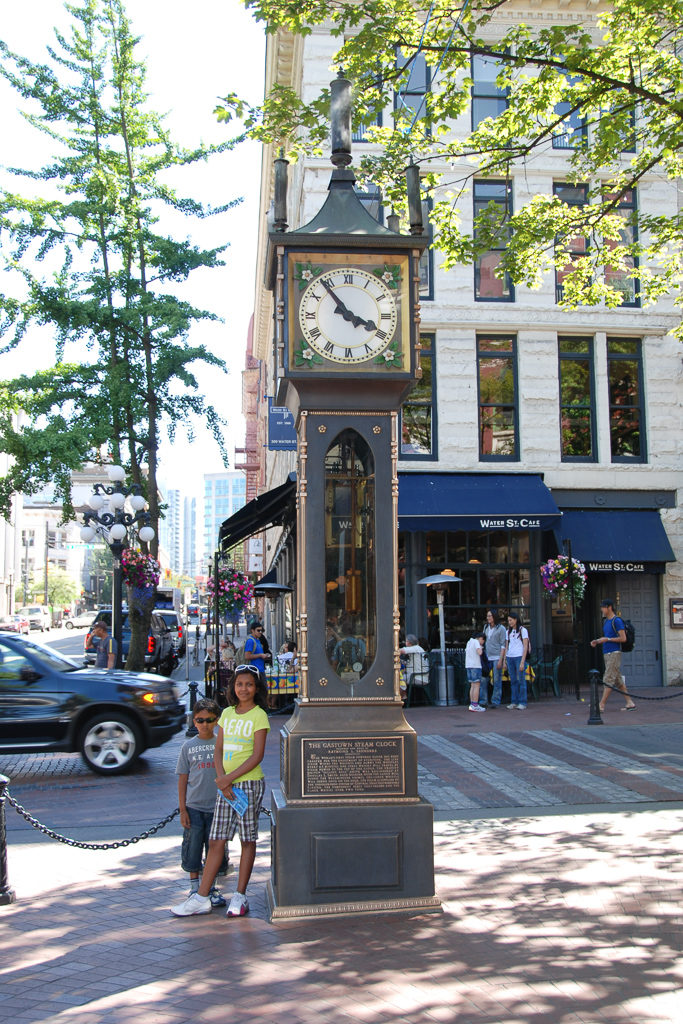 Visit Gastown Steam clock. Things to do in Vancouver with Kids Photo by Outside Suburbia