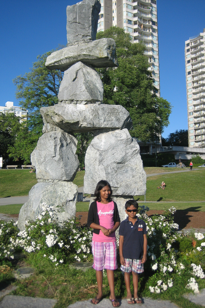 Count the Inuksuk in Vancouver. One of the fun things to do in with Kids in Vancouver Photo by Outside Suburbia
