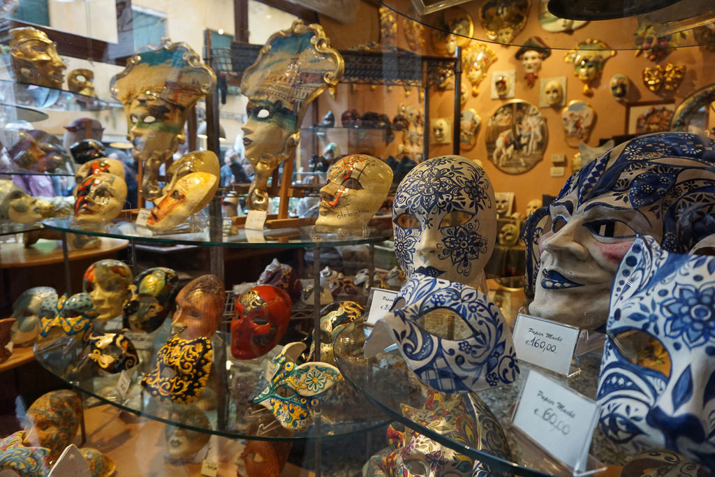 Best Venice Souvenirs. Shop for locally handmade Papier Mache masks, Photo by Outside Suburbia