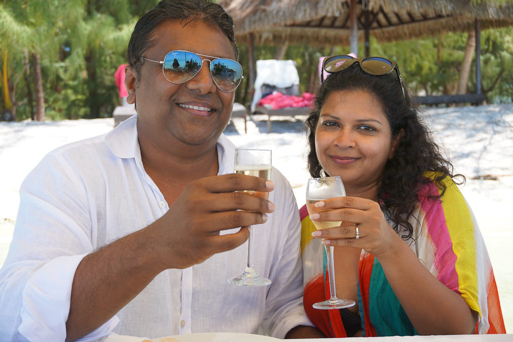 Toasting to an amazing day in Paradise - what a memorable experience at this Secret and Private Island in Bora Bora