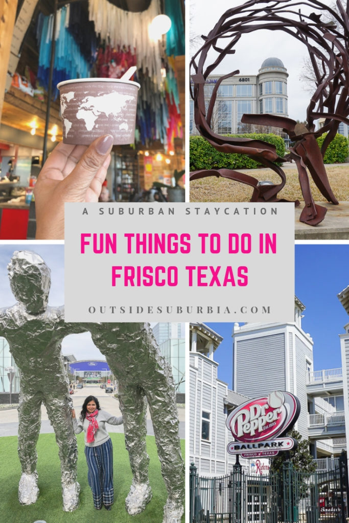 Whether you are interested in art, sports, videogames or shopping, Frisco, Texas has something for you... see post for all fun things to do in Frisco, Texas #OutsideSuburbia #FriscoTexas #FriscoActivityForKids #DallasWithKids #FriscoThingsTodo