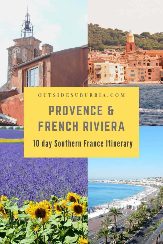 So you have been to Paris a few times but can you really check France off your list if you haven't visited Southern France? See this 10 day Provence and French Riveria Itinerary to plan a trip to see the lavender fields of Provence, the glitz andglamour and the coastal towns of Cote d'Azur. #ProvenceItinerary #FrenchRivieraRoadTrip #SouthernFranceItinerary #OutsideSuburbia #FranceRoadTrip