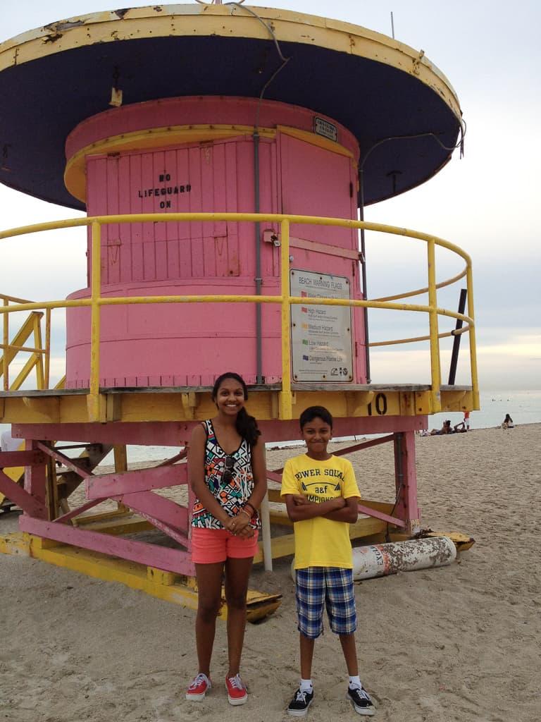 Colorful lifeguard stations, Miami Beach
