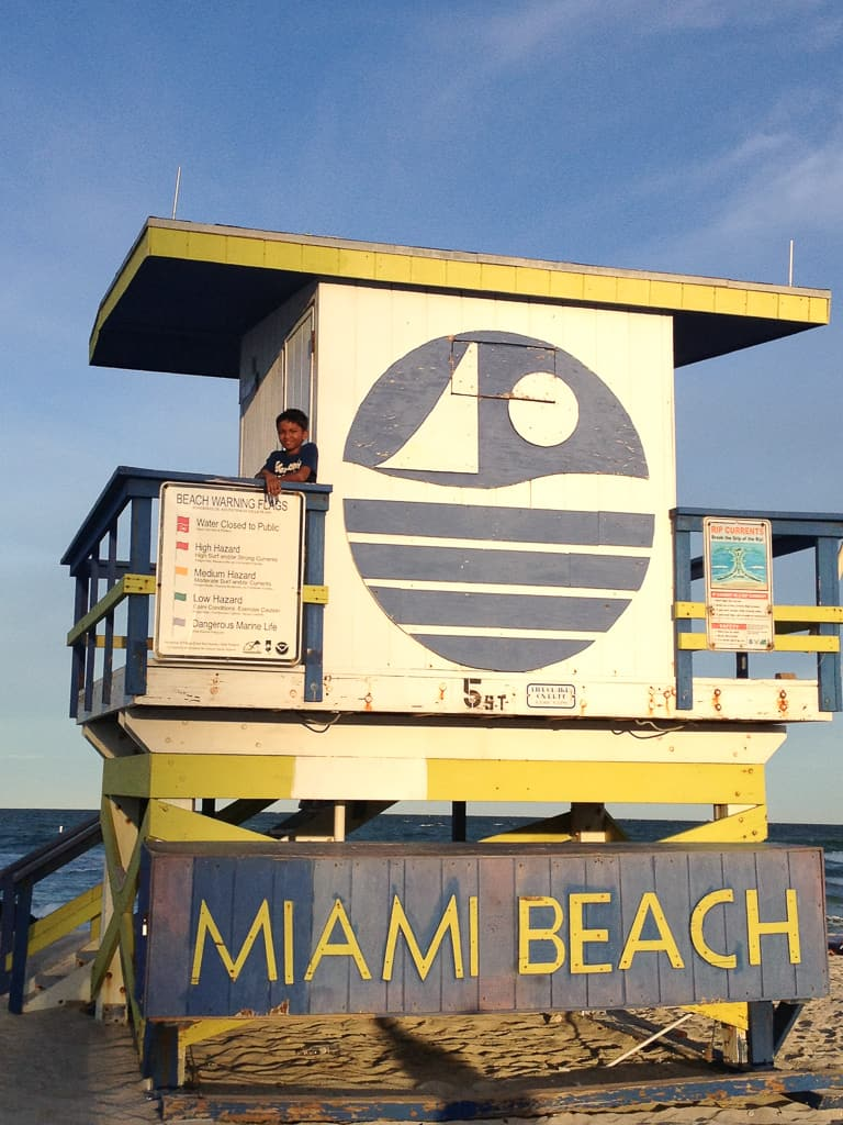 Colorful lifeguard stations, Miami Beach