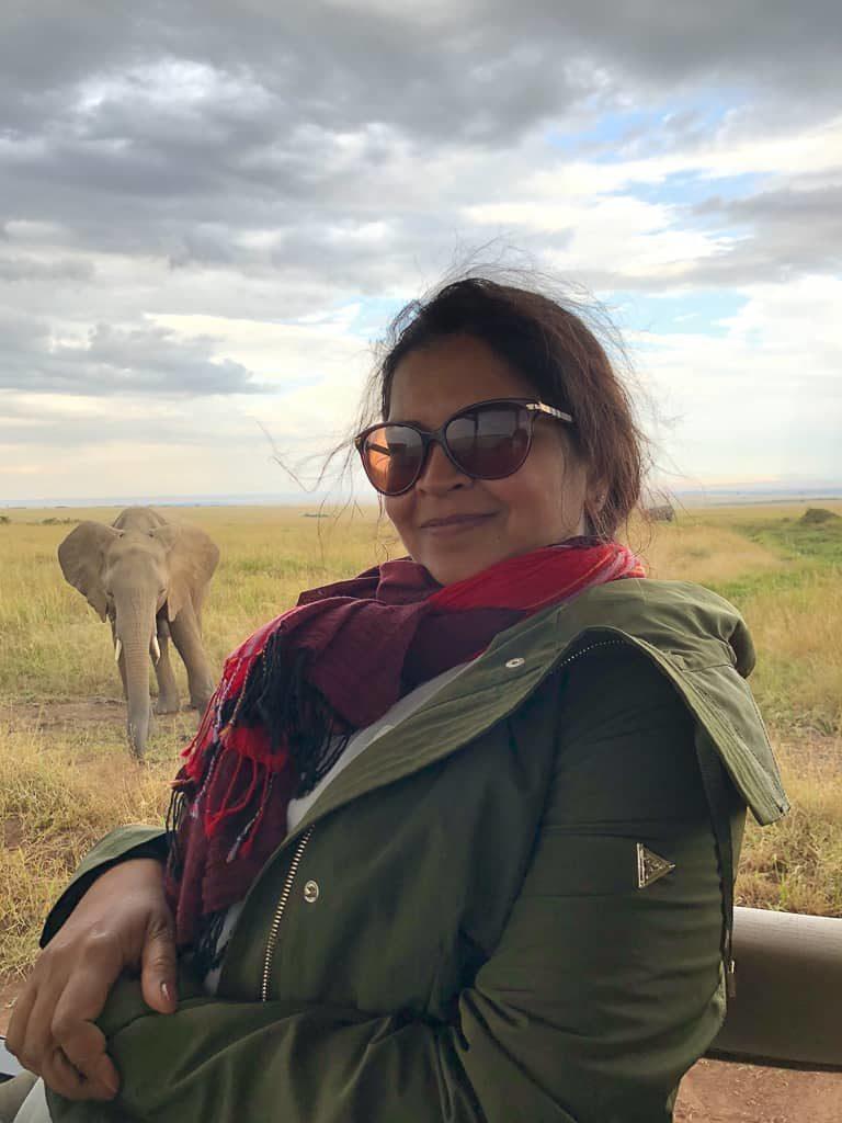 Selfie with a baby elephant - Luxury Family Safari Experience at Angama Mara, Kenya Photo by Outside Suburbia