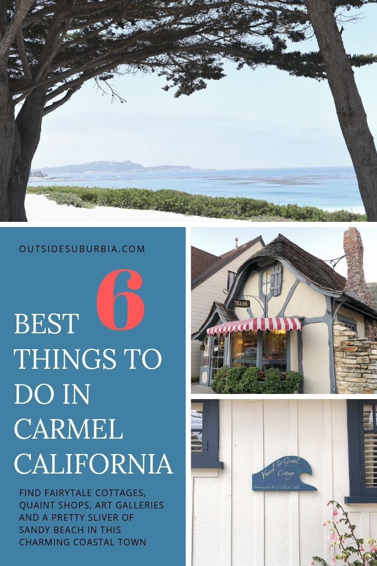 Carmel by the Sea is probably the most charming little coastal town in California.  Tucked away in California's Monterey Peninsula it has fairytale cottages, quaint shops, art galleries and a pretty sliver of sandy beach. See post for our guide to places to stay, eat and fun things to do in Carmel, California #CarmelCalifornia #CaliforniaGuide #QuaintTownsCalifornia #CaliforniaBucketlist #CarmelbytheSea