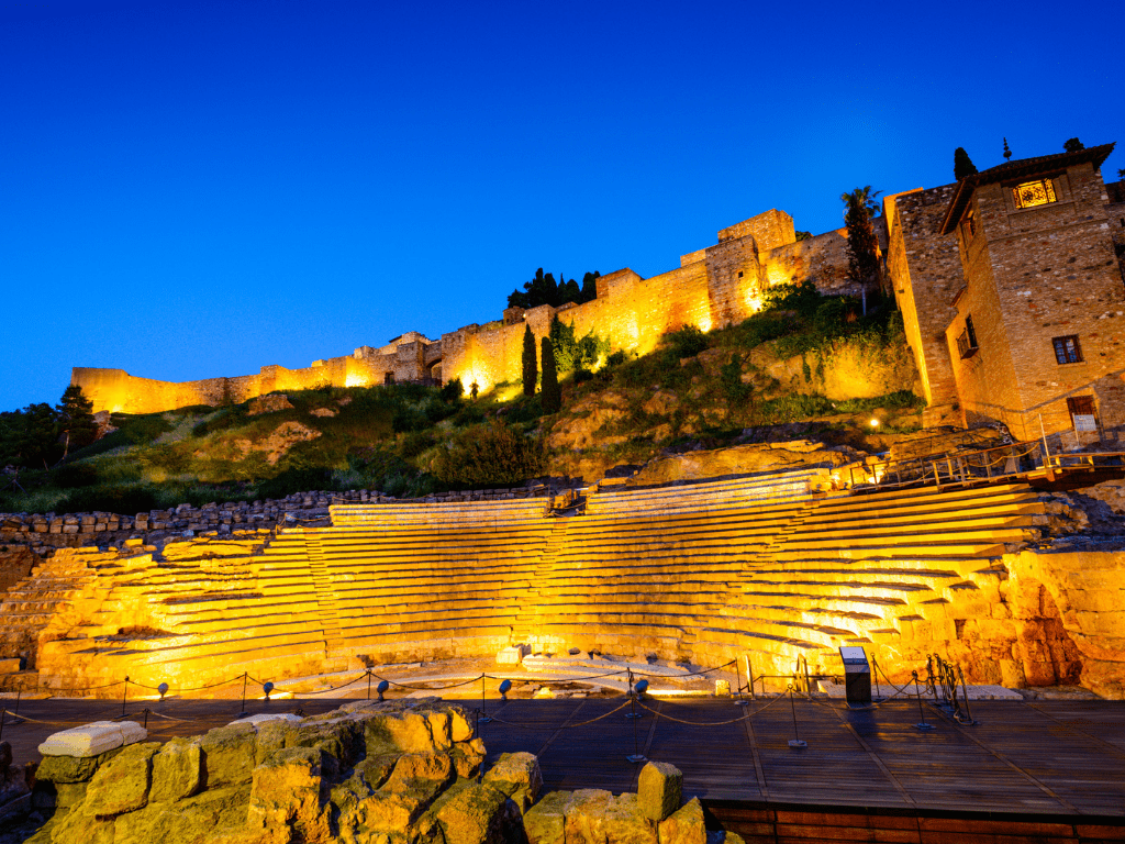 Roman theatre at dusk, Malaga, Spain - Best things to do in Malaga and Where to stay in Malaga  - More details at OutsideSuburbia.com
