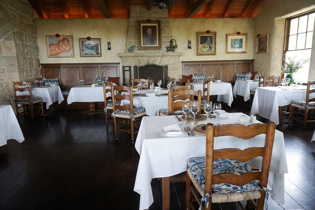 The indoor dining room at The Stonehouse at San Ysidro Ranch