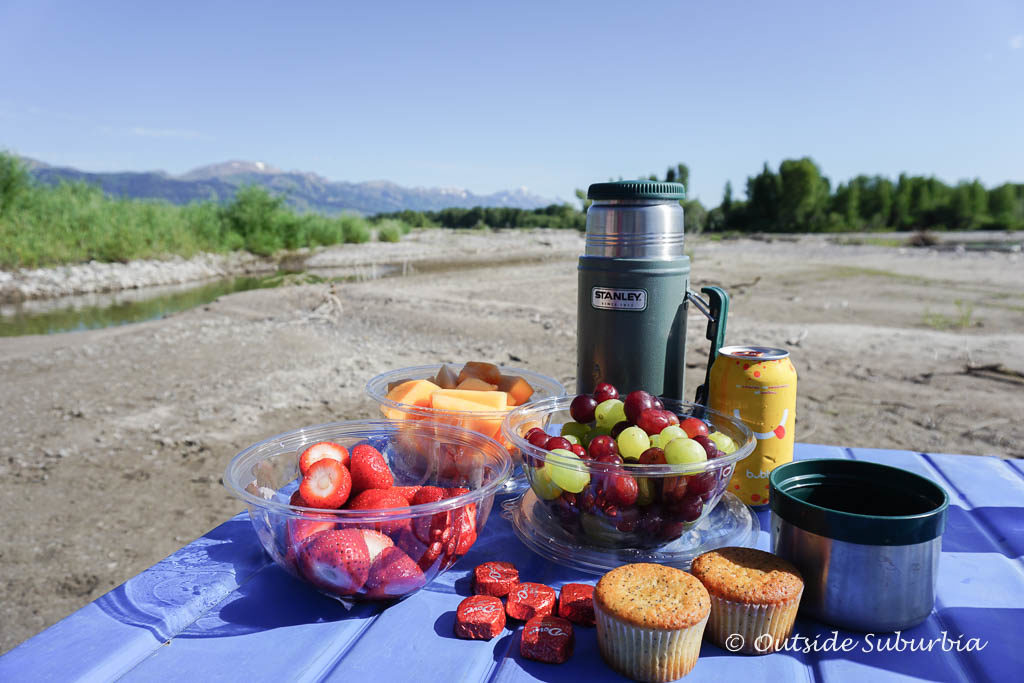 Snack stop while on the Scenic Raft tour- Things to do in Jackson Hole, Wyoming in Summer and Fall - OutsideSuburbia.com