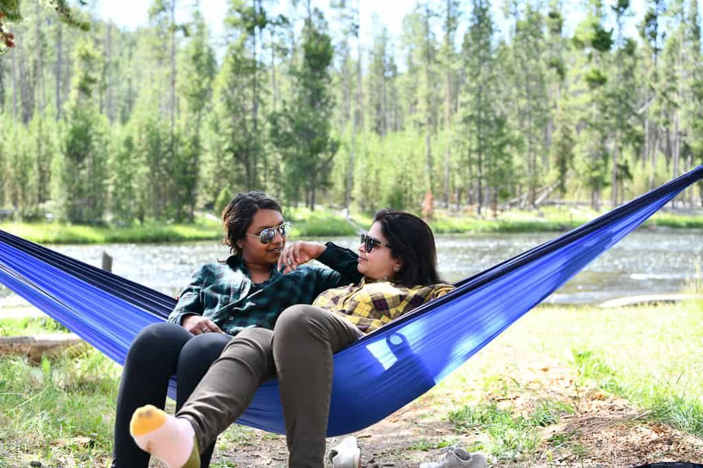 Best things to do in Yellowstone - Relax in a hammock by the water! OutsideSuburbia.com