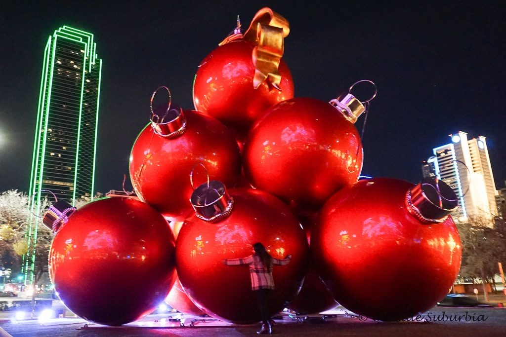 Giant Christmas ornaments at the Omni Hotel Dallas