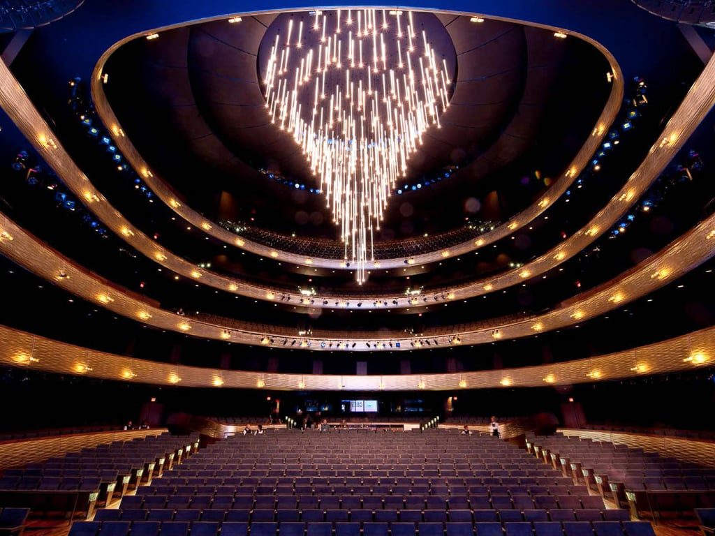The Dallas Opera House and the beautiful chandelier that retracts into the ceiling