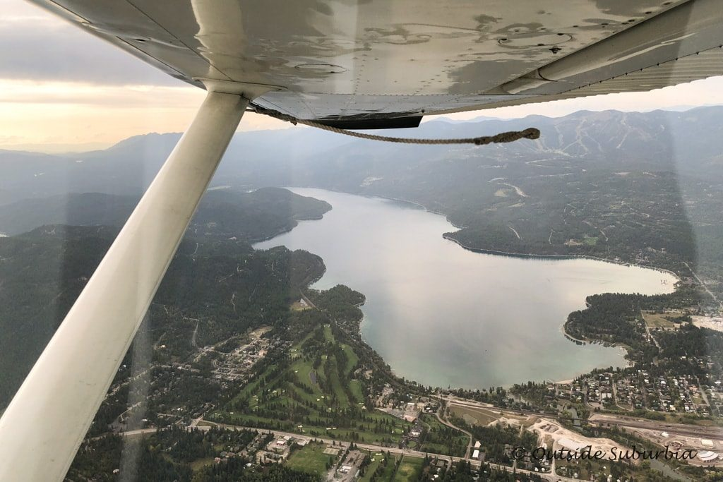 View of Whitefish, MT from the floatplane