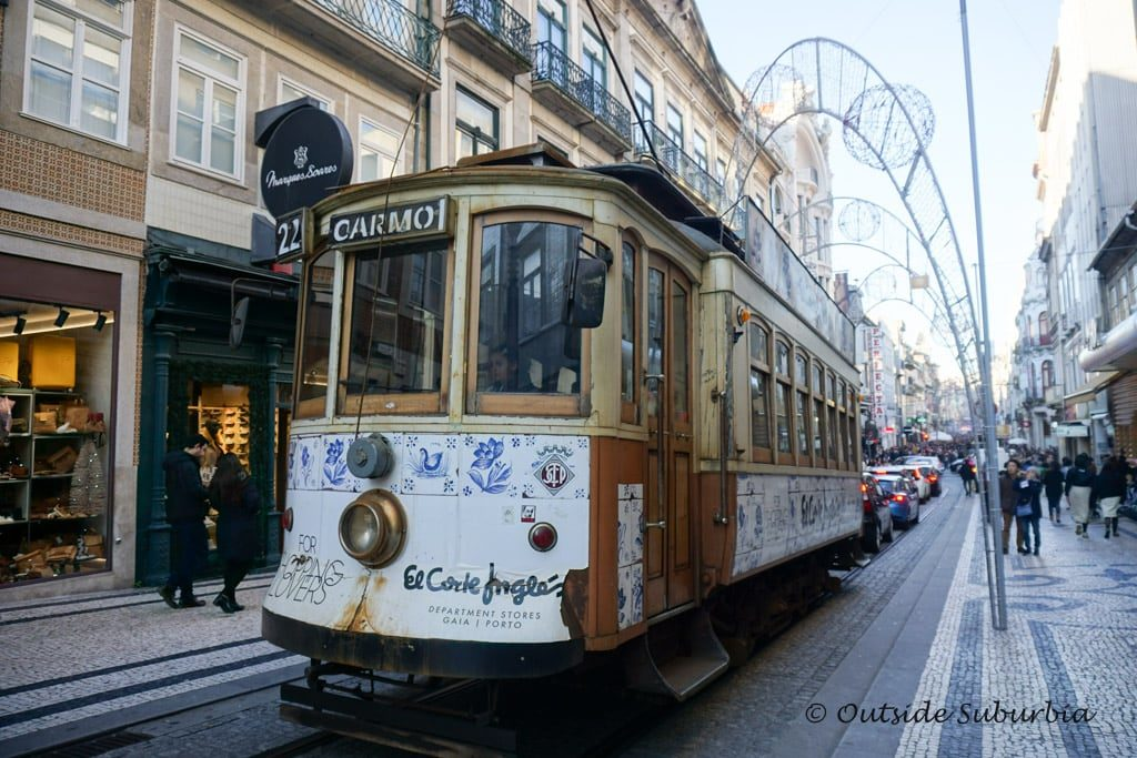 A tram on Rua de Santa Catarina shopping street in Porto