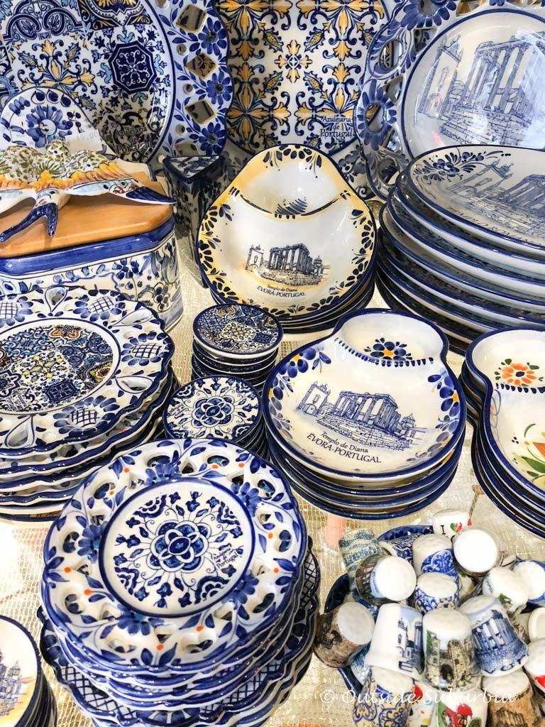 Pretty pottery in Evora, Portugal