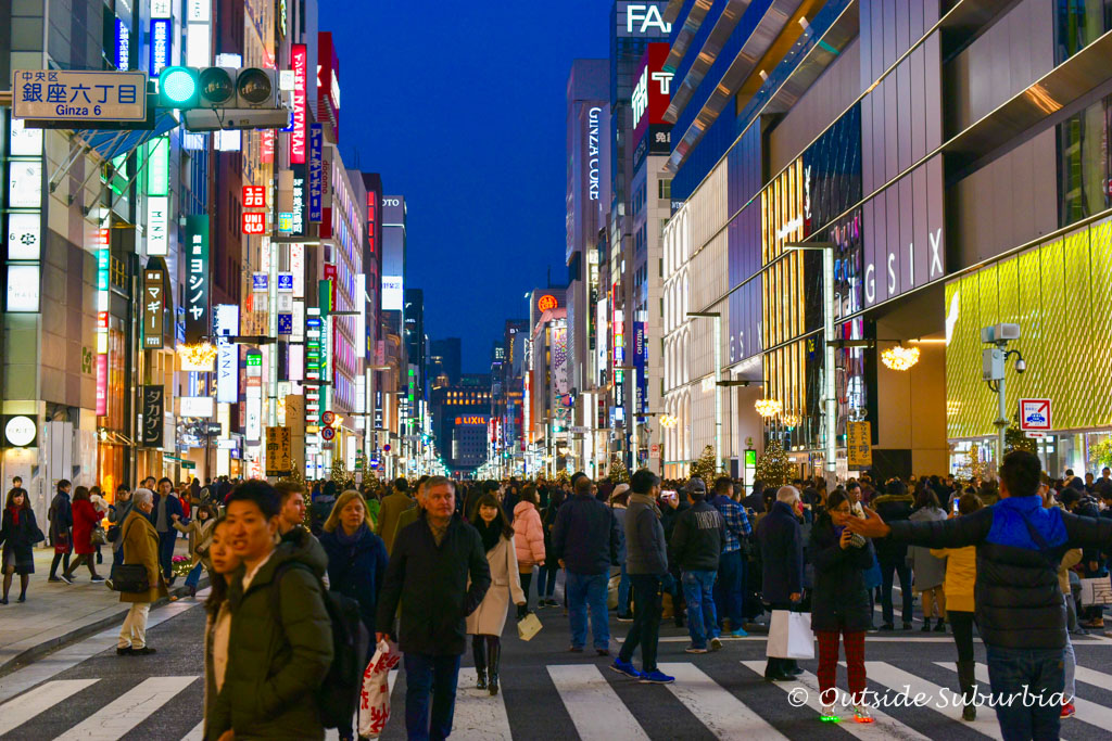 Ginza shopping district - Two week Japan Itinerary - Photo by OutsideSuburbia.com