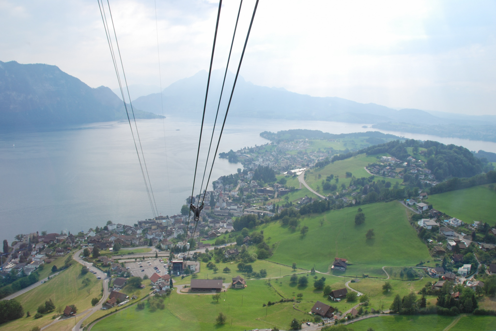 View from the gondola on the way down from Mount Rigi