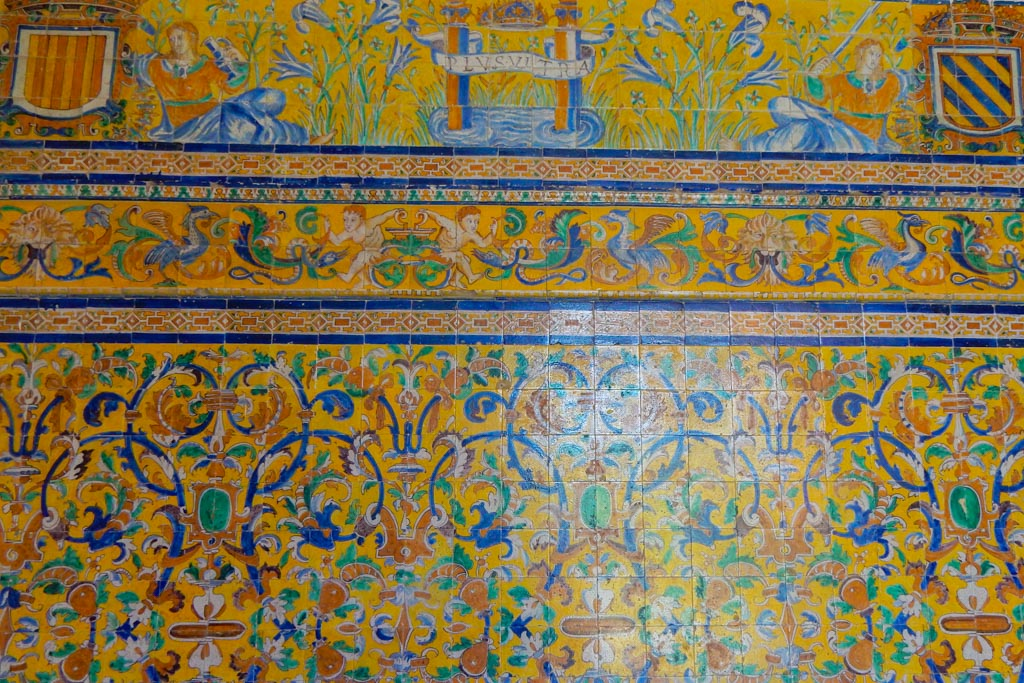 Tile work in the Map room at the Alcazar