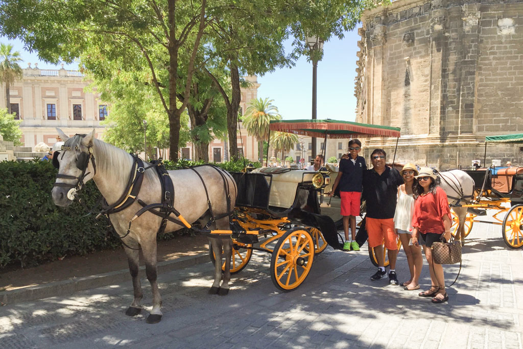 Horse carriages waiting around every corner in Seville