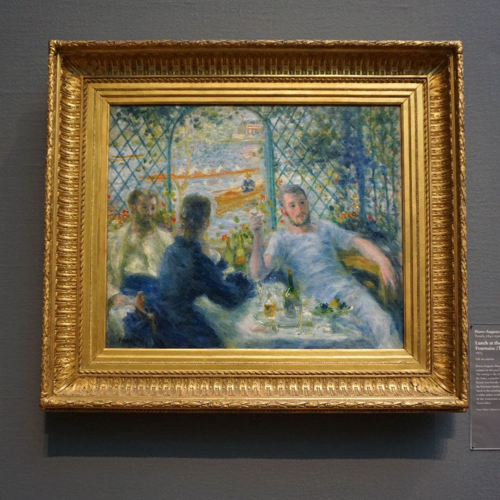 Pierre-August Renoir's painting of two boaters and their female friend enjoying lunch alfresco