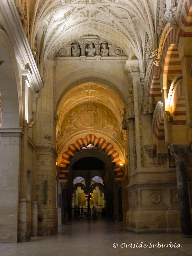 The interior halls and double arches columns of jasper, onyx, marble, and granite in La Mezquita