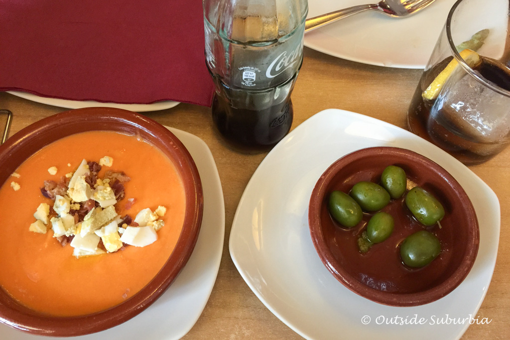 Salmorejo and olives in Cordoba - 10 Spanish Dishes & Drinks you MUST try when visiting Spain | Outside Suburbia