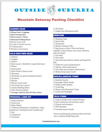 Download a Printable Mountain Getaway Packing Checklist   Outside Suburbia