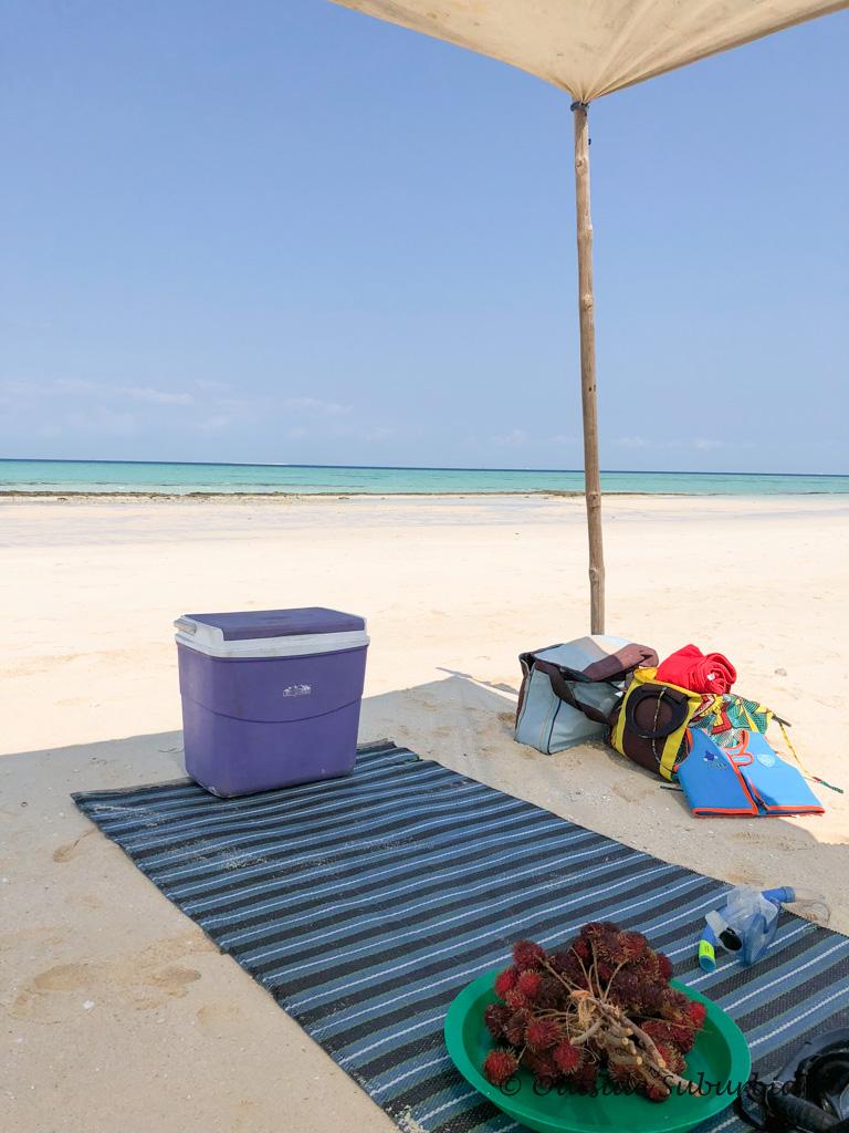 Picnic on the beach in Zanzibar
