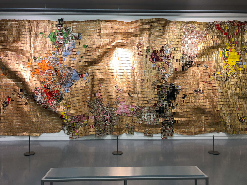 El Anatsui's sculptural wall hanging - Virtual museum walk at Zeitz MOCAA in Cape Town, South Africa - OutsideSuburbia.com