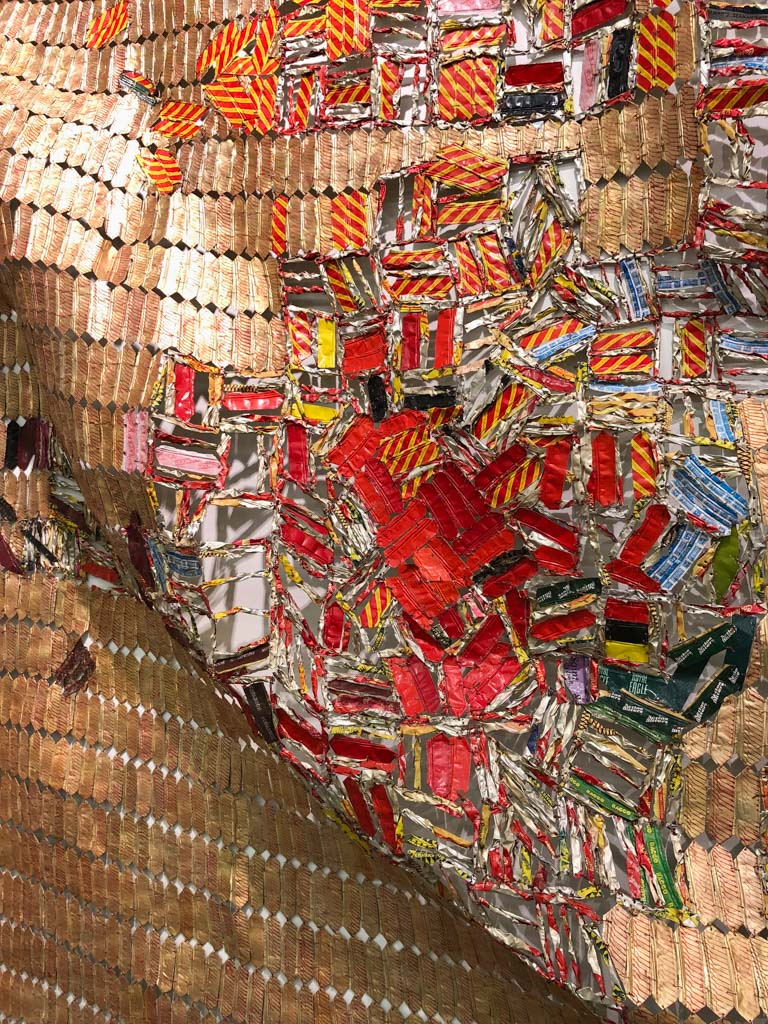 Close up of El Anatsui's artwork - Virtual museum walk at Zeitz MOCAA in Cape Town, South Africa - OutsideSuburbia.com