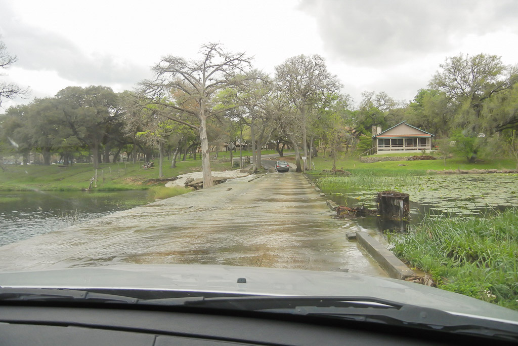 Driving over water in Wimberley, Tx