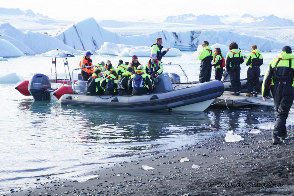 Zodiac boat tour at Jokulsarlon in Iceland - OutsideSuburbia.com