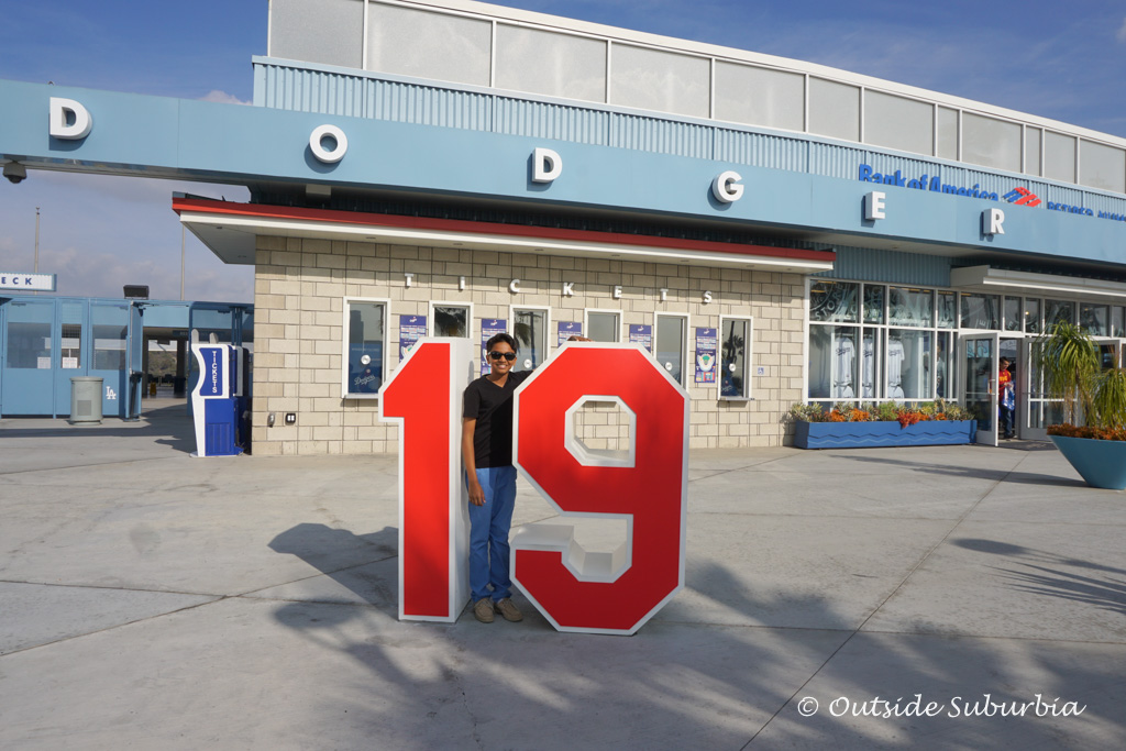 At the LA Dodgers Ballpark.  His Jersey number is 19 as well, so had to get that photo