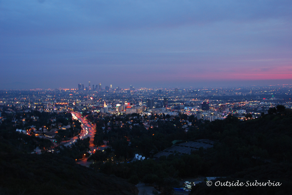 A Pink LA Sunset from the Hills near the Hollywood sign - Outside Suburbia