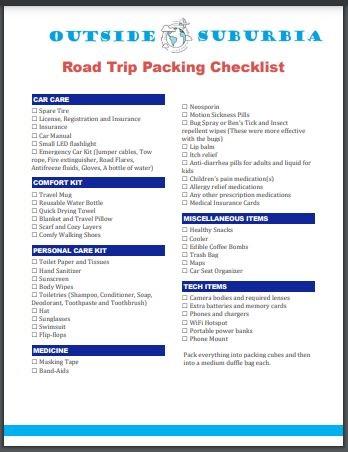 Road trip Packing Printable Checklist   Outside Suburbia
